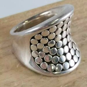 .925 size 9 Sterling Silver Circle dot design ring